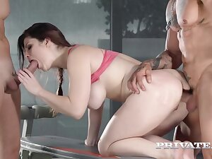 Triune With Peppery Freak Babe, Big Tits, Gym Porn