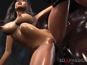 Hot sex! Black guy plays with a titillating bride in the dungeon