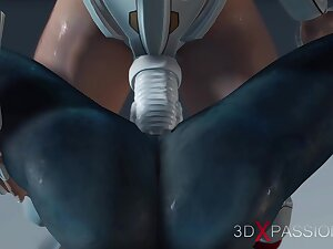 Hot sex on th exoplanet! An alien gets fucked by a spacewoman apropos spacesuit with strapon